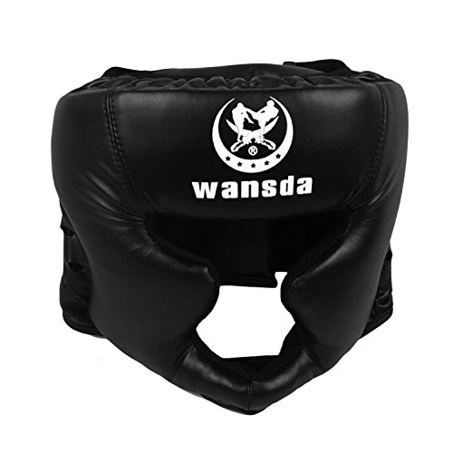 Sopear PU Leather Padded Boxing Headgear Headguard Helmet Kick Boxing Pretection Gear For Sparring Muay Thai Free Fight Taekwondo