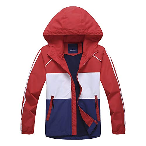 Mobycare Boys Girls Hooded Stripes Jacket Fleece Lined with Multi-Colored Waterproof Light Windbreaker(Stripes Color-M)