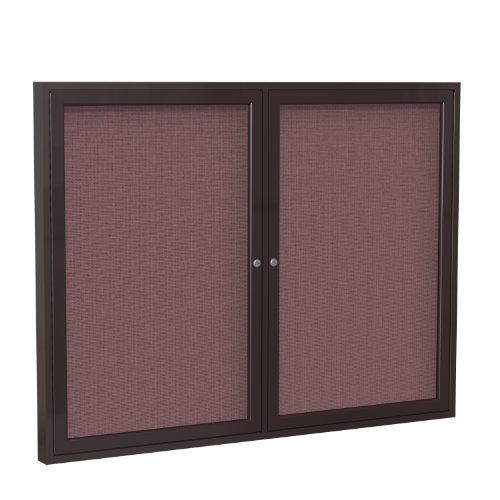 Cheap 2 Door Enclosed Bulletin Board Size: 3' H x 4' W, Surface Color: Merlot, Frame Finish: Bronze for cheap