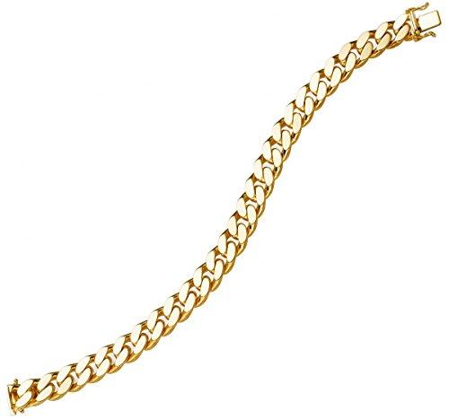 10 Mm de large-bracelet gourmette en or jaune 585 en forme de 21 cm