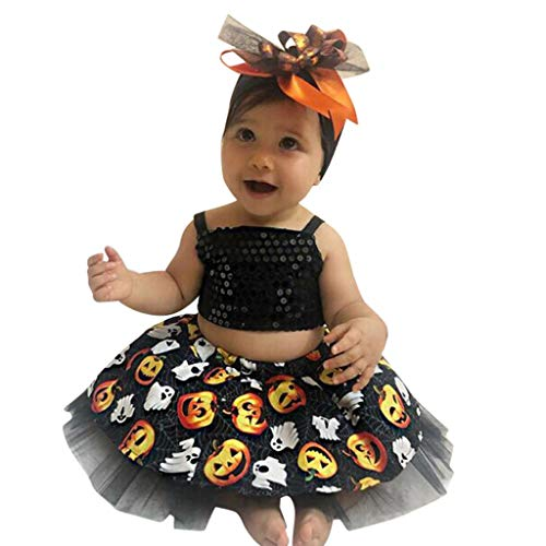 Baby Girl Party Dress 3 Pcs,Crytech Toddler Newborn Sequin Harness Top Pumpkin Ghost Splice Layer Tutu Skirt with Tulle Headband Halloween Cosplay Costume Clothes for Photography (2-3 Years, Black)