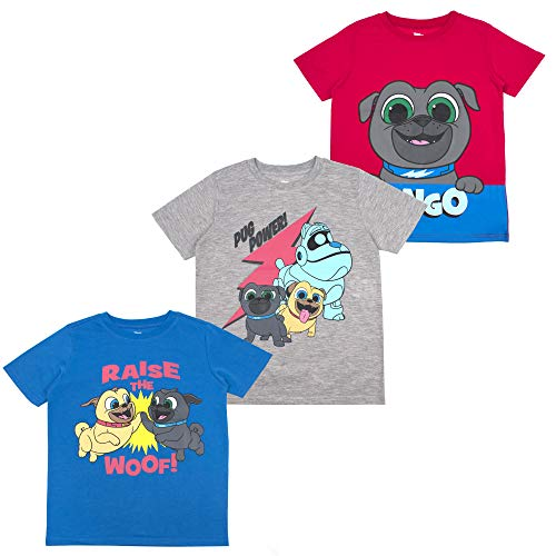Puppy Dog Pals Toddler Boys' T-Shirt (Pack of 3) 4T RED