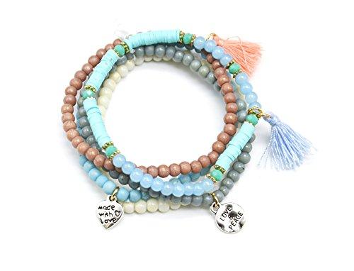 BC2314E - Lot de 5 Bracelets Perles Elastique avec Charms Métal Argenté et Pompons Bleu/Rose