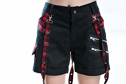 Blooms - Punk Gothic Women Plaid Buckle Zipper Shorts (Large, Black)