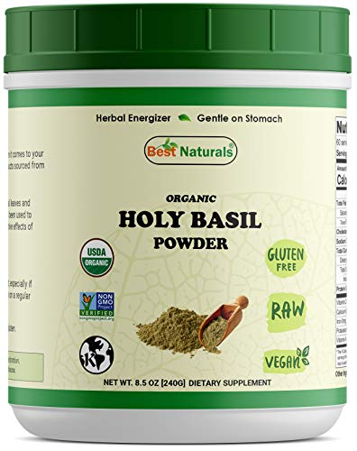 Best Naturals Certified Organic Holy Basil Powder 8.5 OZ (240 Gram), Non-GMO Project Verified & USDA Certified ()
