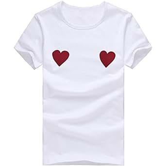 Cinnamou Camisa de Manga Corta para Mujer, Amor Corazon Estampada Tops para Mujer de Verano Casual Blusa de Color Sólido a Algodón