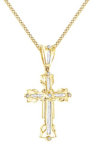 Round & Baguette Cut Cubic Zirconia Cross Hip Hop Pendant in 14K Yellow Gold Over Sterling Silver (0.58 Cttw) by AFFY