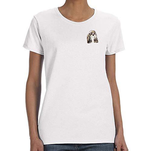 (Cherrybrook Dog Breed Embroidered Womens T-Shirts - Large - White - Shih Tzu)