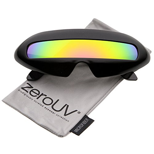 zeroUV - Futuristic Costume Single Shield Colored Mirror Lens Novelty Wrap Sunglasses 70mm (Black / Yellow Mirror) (Shield Lens Plastic Sunglasses)