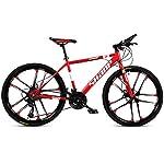 JXH-26-Bici-Pollici-di-Montagna-Doppio-Freno-a-Disco-per-Mountain-Bike-Hardtail-Uomo-Bicicletta-Sedile-Regolabile-ad-Alta-Acciaio-al-Carbonio-Telaio-21-velocit-Bianco-10-RazzeRed-24in
