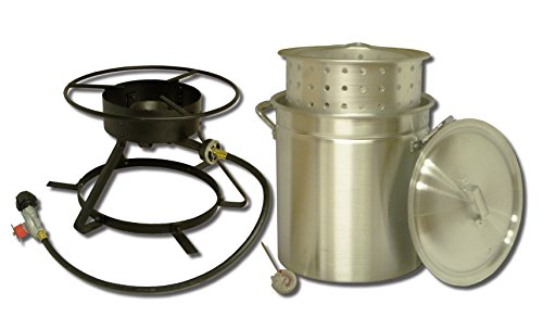 (King Kooker 5012 Portable Propane Outdoor Boiling and Steaming Cooker Package with 50-Quart Aluminum Pot and Steaming Basket)