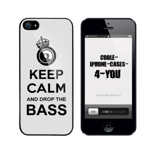 Iphone 5 / 5S Schutzhülle Keep Calm and drop the Bass - schwarzer Rahmen