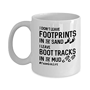 No Footprints In Sand But Boot Tracks In Mud Funny Farmers Wife Farm Girl Gift Mug