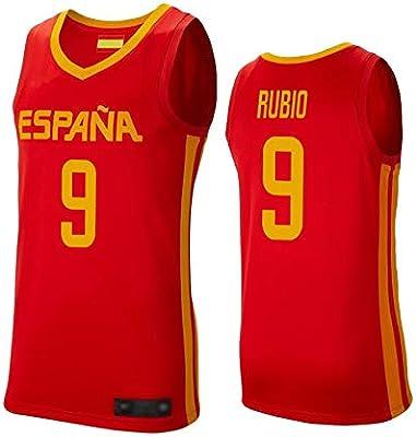 WOLFIRE WF Camiseta de España 2019 para Hombre, Mundial de China. Llul, Gasol, Rubio. Estampado, Transpirable y Resistente al Desgaste Camiseta para Fan (Rubio Rojo, 2XL): Amazon.es: Deportes y aire libre