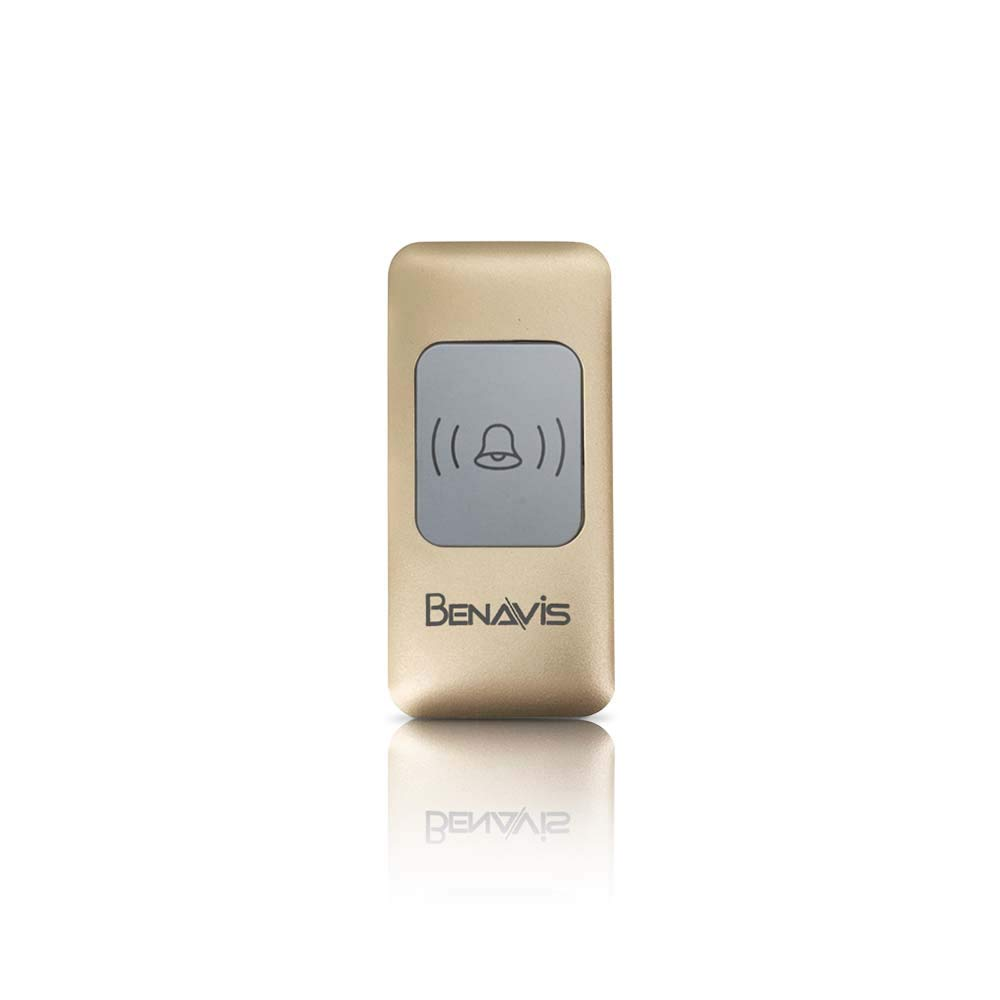 Transmitter Wireless Doorbell Push Button Waterproof Housing Optional Home//Office//Classroom Indoor Usage Benavis Expandable Alkaline Battery Operated White 1 Emitter Remote 500 Feet