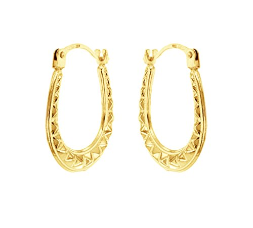 Carissima Gold Women's 9 ct Yellow Gold Women's Mini Pattern Creole Earrings hAl35MPjl5