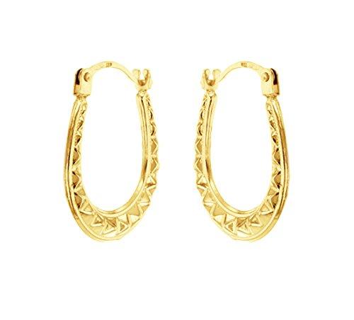 Carissima Gold Women's 9 ct Yellow Gold Women's Mini Pattern Creole Earrings OsuwqA