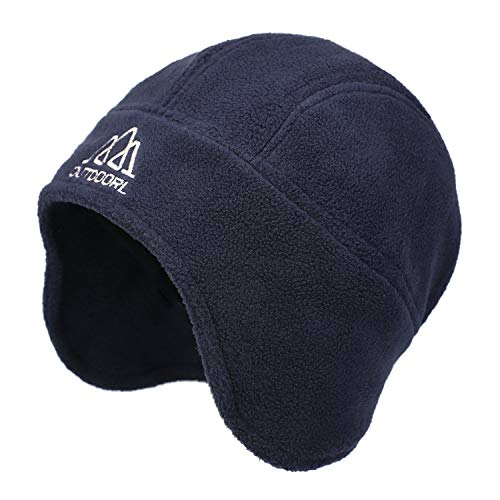 Flammi Warm Polar Fleece Earflap Hat Beanie Men Women (Dark Blue)