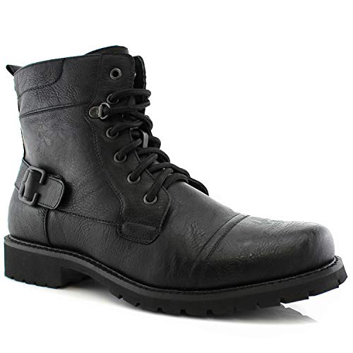 Polar Fox Fabian MPX808006 Mens Motorcycle Vegan Leather Cap Toe Military Combat Tactical Riding Biker Boots - Black, Size 9.5 ()