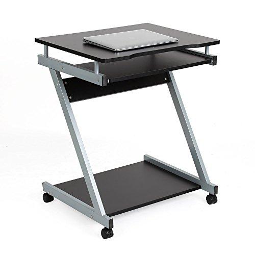 Homfa Computertisch Computerschreibtisch Bürotisch Schreibtisch PC Tisch Arbeitstisch Notebook Tisch für Hause Office (Schwarz mit Roller)