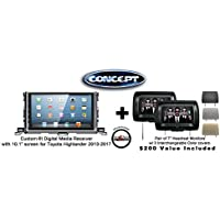 Concept FFMS-10L Custom-Fit Digital Media Receiver 10.1 screen TOY-HIG-10 for Toyota Highlander (2013-2017) & Pair of CLS703 7 Headrest Monitors w/ 3 color covers & FREE SOTS Air Freshener Included