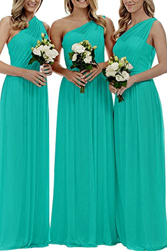 Women's Long One Shoulder Bridesmaid Gown Asymmetric Prom Evening Dress Turquoise 16