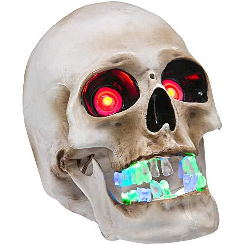 Pumpkin Hollow Animated Talking Skull with LED Lighted -