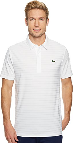 - Lacoste Men's Golf Short Sleeve Ultra Dry Tech Jersey Solid Jaquard Polo, DH8132, White Large