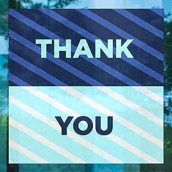 Thank You 5-Pack Stripes Blue Window Cling CGSignLab 16x16