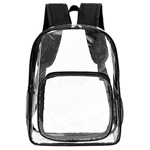 HOSOME Fashion Women Girls Transparent Shoulder Bag Backpack Students School Travel Bag Black