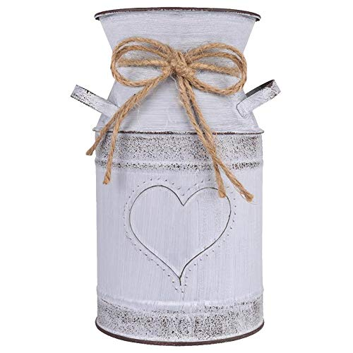 "HIDERLYS 7.5"" High Decorative Vase with Unique Heart-Shaped and Rope Design, Galvanized Finish- Rustic Decorated for Living Room, Bedroom, Kitchen (Grey)"