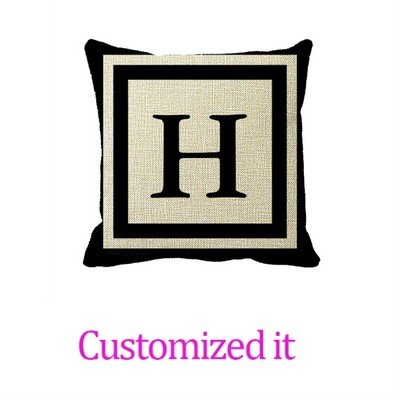 Monogrammed Front and Back - Black and White Decorative Pillowcase Linen Burlap Throw Pillow Sham Cushion Cover 20 x 20