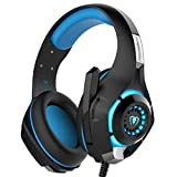 YUNQE Gaming Headset for Xbox One PS4 PC,GM-1 3.5 mm Gaming Headset LED Light Over-Ear Headphones with Volume Control Microphone for PC Xbox one Laptop Tablet PlayStation 4 (Blue)