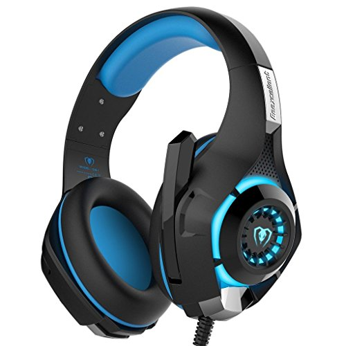(YUNQE Gaming Headset for Xbox One PS4 PC,GM-1 3.5 mm Gaming Headset LED Light Over-Ear Headphones with Volume Control Microphone for PC Xbox one Laptop Tablet PlayStation 4 (Blue))