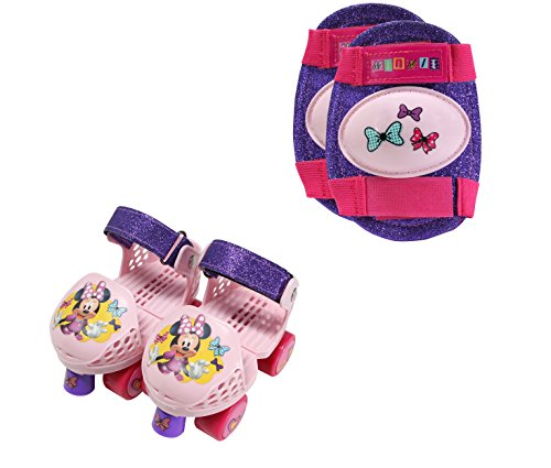 - PlayWheels Minnie Mouse Kids Glitter Roller Skates with Knee Pads - Childrens Adjustable Skates - Junior Size 6-12