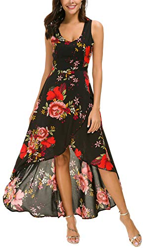 - Kormei Womens Sleeveless Scoop Neck Floral High Low Split Party Long Maxi Dress L Black&Red