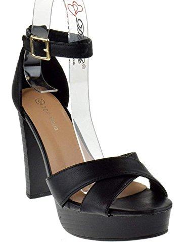 Ankle Strap Faux Wood - Top Moda Toby 3 Womens Cross Strap Open Toe Chunky Heel Platform Sandals,Black,9