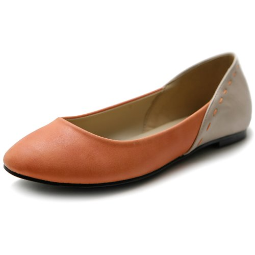 Ollio Women's Shoes Ballets Cute Heel Patch Pastel Color Flats M1838(5.5 B(M) US, Orange) Pastel Ballet Shoes