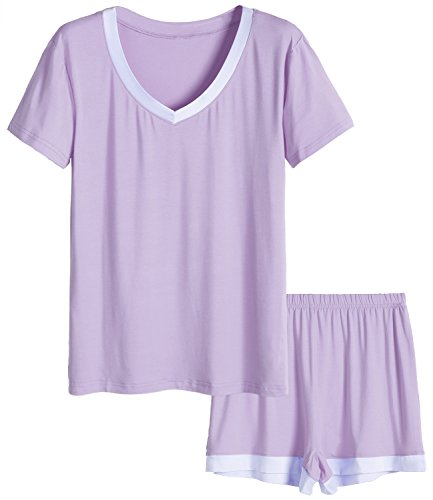 Latuza Women's V-Neck Sleepwear Short Sleeve Pajama Set S Purple