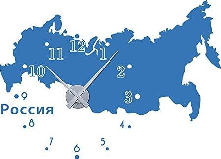 GRAZDesign 800137_GD_010 Wandtattoo Wandaufkleber Uhr Wanduhr fü r Wohnzimmer Russland Karte Schriftzug (79x57cm//010 Weiss//Uhrwerk Gold)
