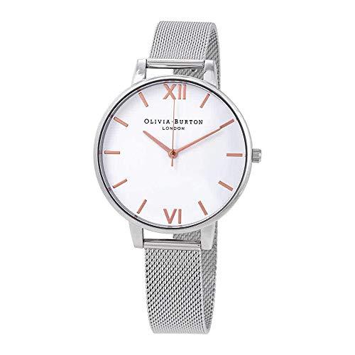Olivia Burton White Dial Mesh Watch in Silver -