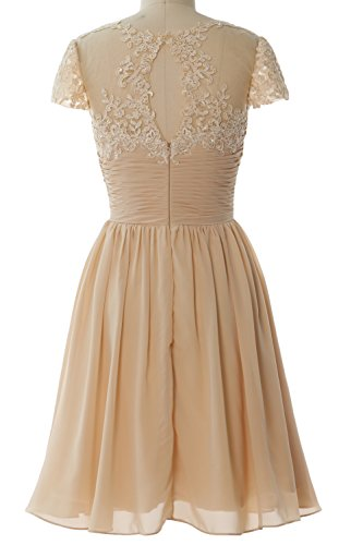 MACloth Women Cap Sleeve Cocktail Dress Short Lace Chiffon Mother of Bride Dress Champagne
