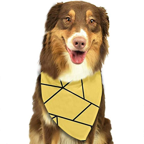HGFR Mustard Yellow Black Mosaic Lines Customized Dog Headscarf Bright Coloured Scarfs Cute Triangle Bibs Accessories for Pet Dogs