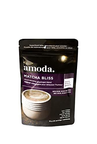 Uplifting Butter Salt - REISHI + CACAO + MACA + MATCHA - An organic adaptogenic coffee alternative - MATCHA BLISS BY AMODA. A mood lifting blend for focused energy, immune support and antioxidants. 2.65oz - 25 servings.