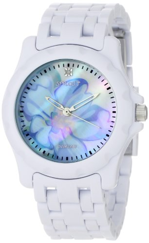 Sprout Women's ST6001BMWT Diamond Accented Blue Flower Dial and White Corn Resin Bracelet Watch (Eco Diamond Friendly Dial)