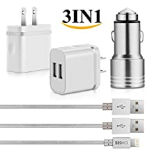 3in1 SEGMOI® [Apple MFi Certified] Lightning Charger Cable 3ft/1M Nylon Braided Cord + Dual USB Wall Adapter + Aluminum Safety Hammer Style Dual Ports Car Charger for iPhone 5 5s SE 6 6S 6Plus 7 7 Plus (White-Silver Kit)