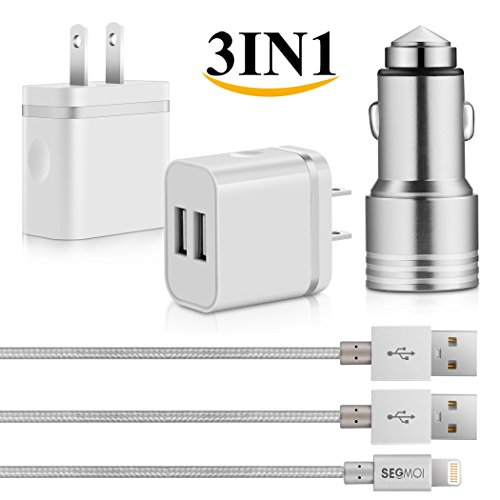 3in1 SEGMOI [Apple MFi Certified] Lightning Charger Cable 3ft/1M Nylon Braided Cord + Dual USB Wall Adapter + Aluminum Dual Ports Car Charger for iPhone 5 5s SE 6 6S 6Plus (White-Silver Kit)