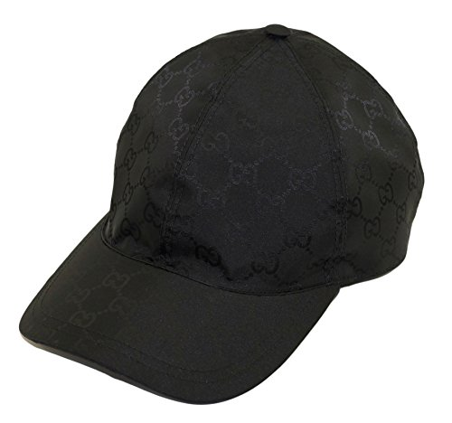Gucci GG Nylon Signature Web Stripe Baseball Cap, Nero (Black) 387578 (L (Large)) - Gucci Cap Hat
