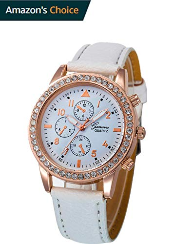 HOSOME Women's Diamond Women's Metal Casual Rose Goldtone and Stainless Steel Parker Watch (Free, White)