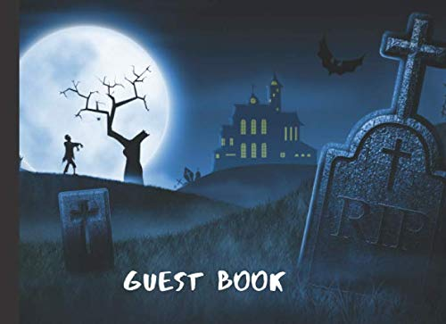 Guest Book: Haunted Cemetery Themed Halloween Wedding Party Sign In Book]()